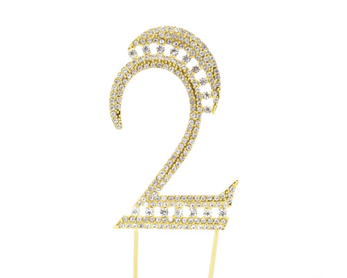 Gold Rhinestone Studded Cake Topper Number 2 - Pack of 3