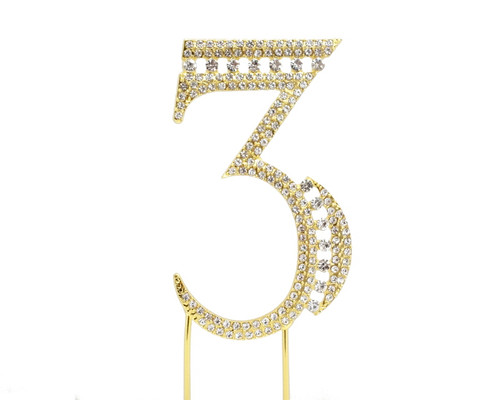 Gold Rhinestone Studded Cake Topper Number 3 - Pack of 3