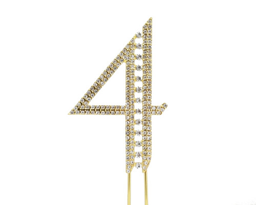 Gold Rhinestone Studded Cake Topper Number 4 - Pack of 3