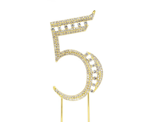 Gold Rhinestone Studded Cake Topper Number 5 - Pack of 3