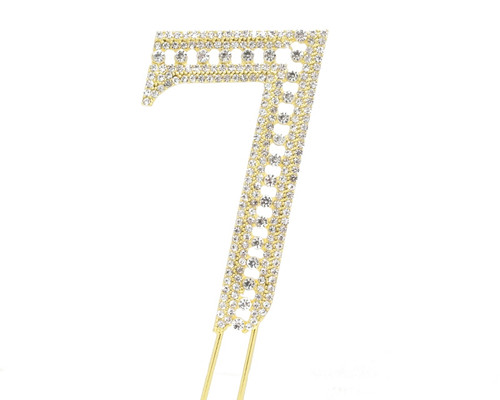 Gold Rhinestone Studded Cake Topper Number 7 - Pack of 3