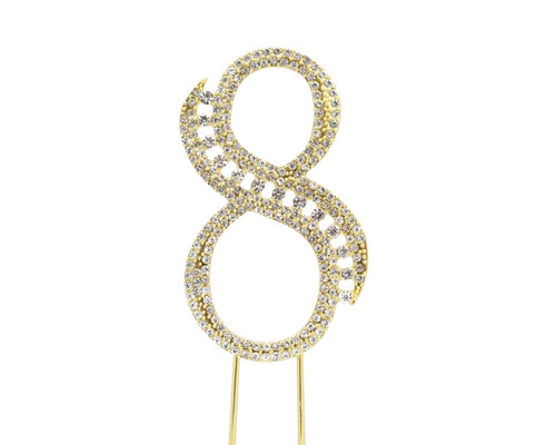 Gold Rhinestone Studded Cake Topper Number 8 - Pack of 3