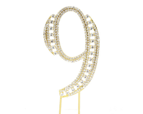 Gold Rhinestone Studded Cake Topper Number 9 - Pack of 3