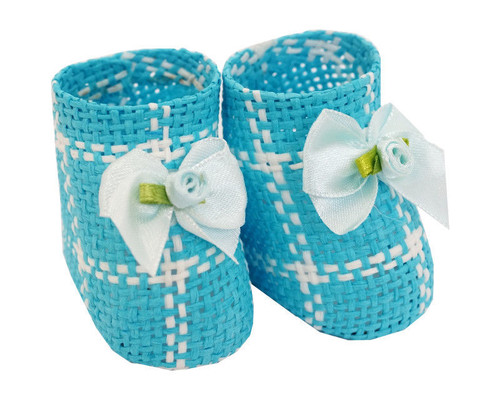"""2.5"""" Blue Baby Shower Paper Straw Baby Booties  - Pack of 12 Booties"""
