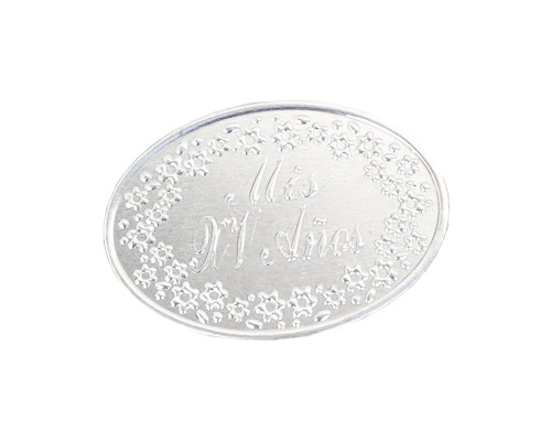 Mis Quince Anos Silver Embossed Aluminum Foil Label - Pack of 100 Quinceanera Non-Adhesive Stickers