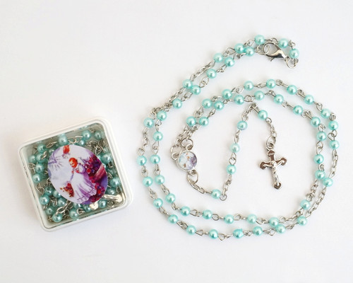 "16"" Blue Pearl Rosary Baptism Favors  - Pack of 12"