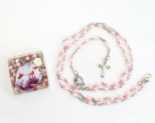 "16"" Pink Pearl Rosary Baptism Favors  - Pack of 12"