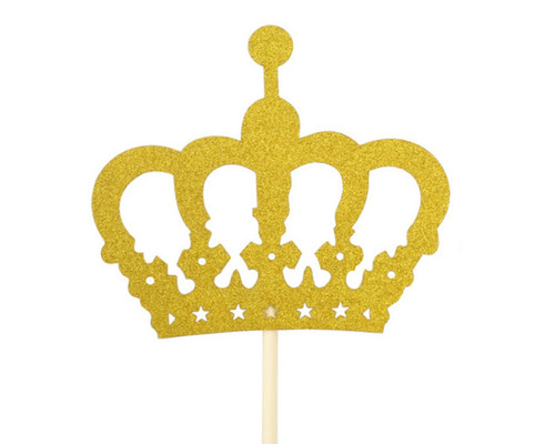 "14.5"" Gold Glitter Crown Centerpiece Cake Topper - 60 Pieces"