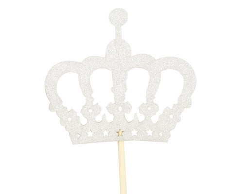 "14.5"" Silver Glitter Crown Centerpiece Cake Topper - 60 Pieces"