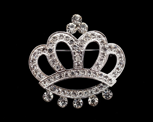 "2"" Silver Crown Rhinestone Fashion Brooch Pin  - Pack of 12"