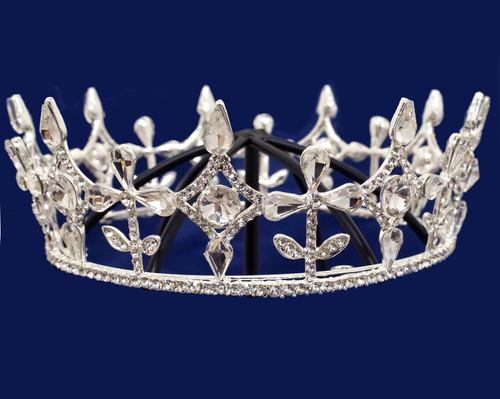 Silver Crystal Rhinestone Full King Crown Tiara (TV024)
