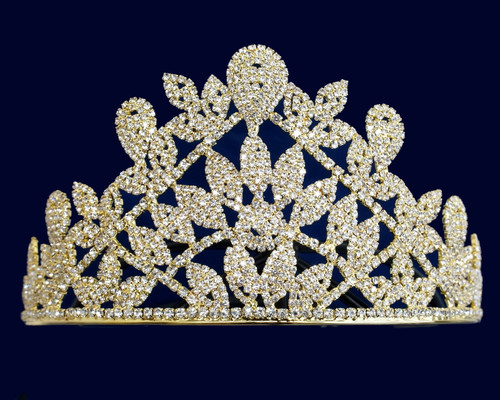 Gold Crystal Rhinestone Light-Weight Tiara (TV051)