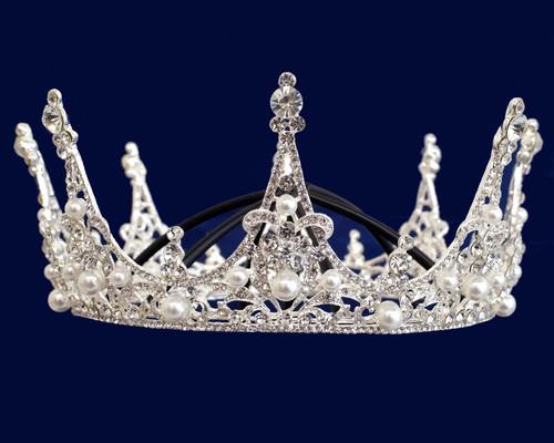Silver Crystal Rhinestone Full Crown Pearl Tiara (TZ050)