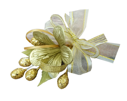 "3.5"" Gold Clay Corsage Flower with Glitter Azares - Pack of 24 Boutonnieres"