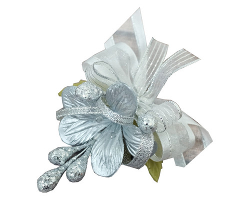 "3.5"" Silver Clay Corsage Flower with Glitter Azares - Pack of 24 Boutonnieres"