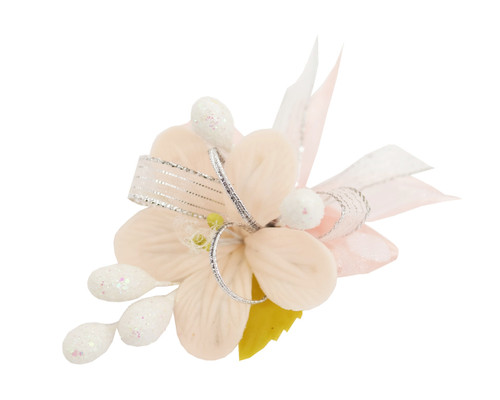 "3.5"" Blush Clay Corsage Flower with Glitter Azares - Pack of 24 Boutonnieres"