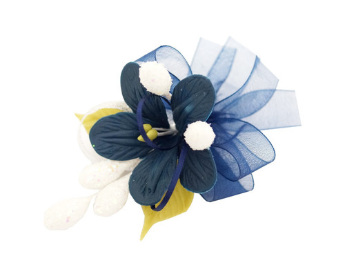 "3.5"" Navy Blue Clay Corsage Flower with Glitter Azares - Pack of 24 Boutonnieres"