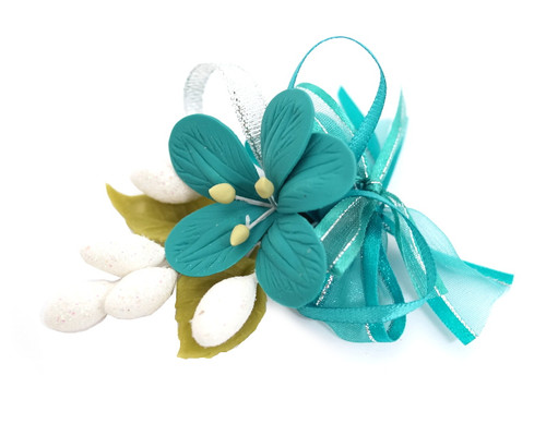 "3.5"" Teal Clay Corsage Flower with Glitter Azares - Pack of 24 Boutonnieres"