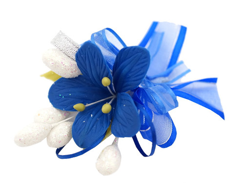 "3.5"" Royal Blue Clay Corsage Flower with Glitter Azares - Pack of 24 Boutonnieres"