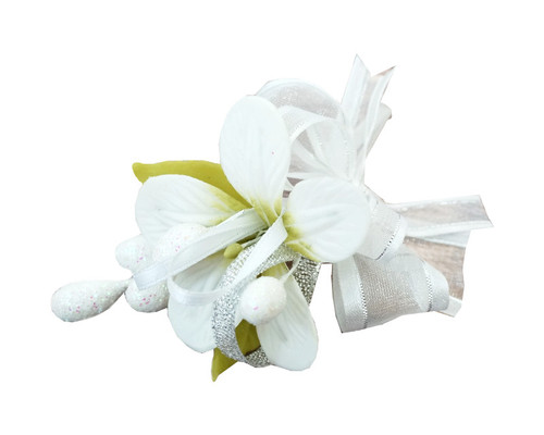 "3.5"" White Clay  Corsage Flower with Glitter Azares - Pack of 24 Boutonnieres"