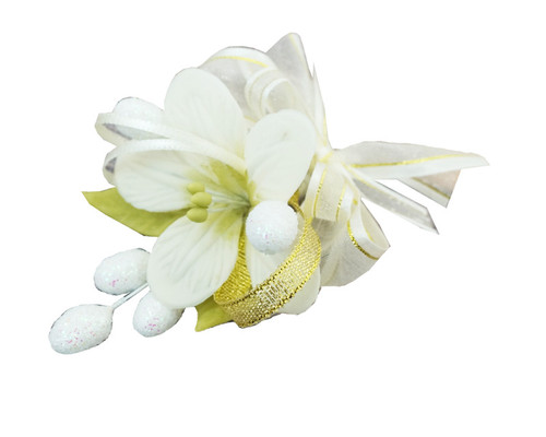 "3.5"" Ivory Clay Corsage Flower with Glitter Azares - Pack of 24 Boutonnieres"