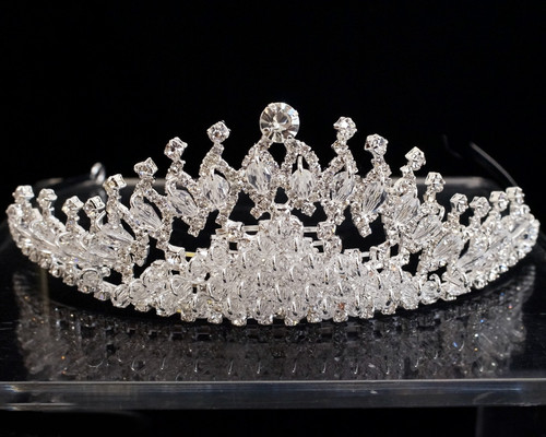 Silver Crystal Rhinestone Tiara  (TU026)