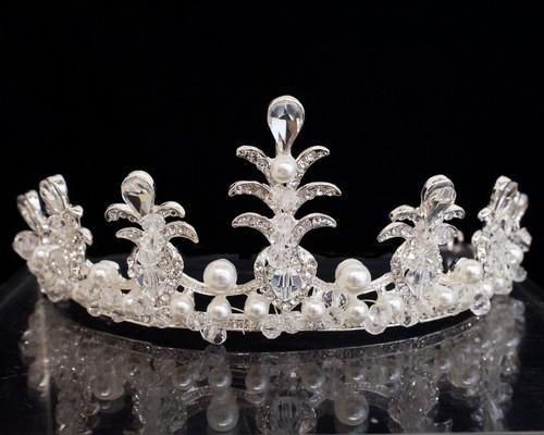 Silver Crystal Rhinestone Tiara  (TU028)