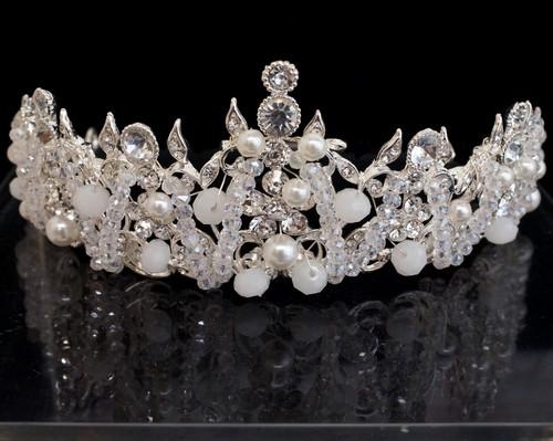Silver Crystal Rhinestone Tiara  (TU033)