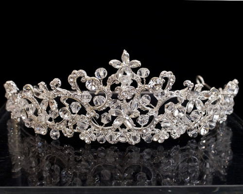 Silver Crystal Rhinestone Tiara  (TU027)