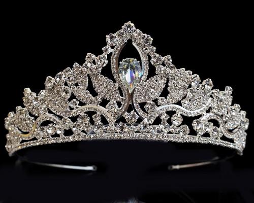 Silver Crystal Rhinestone Tiara  (TV043)