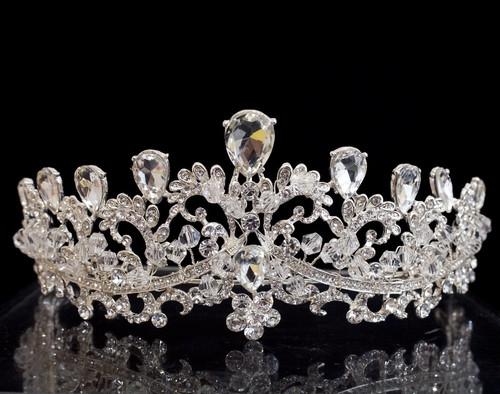 Silver Crystal Rhinestone Tiara  (TU018)