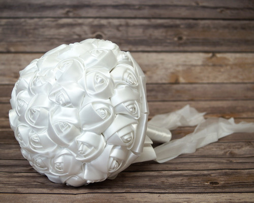 White Rose Bud Satin Bouquet