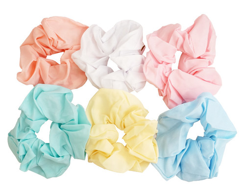 "5"" Assorted Mix Soft Pastel Color Scrunchie Set  - Pack of 12"