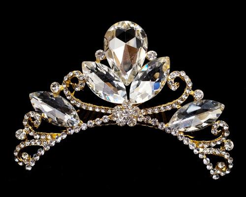 Gold Crystal Rhinestone Tiara Comb (TL006)