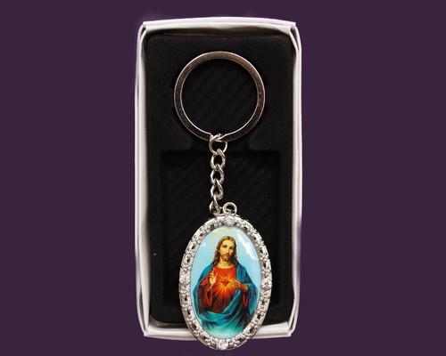 Oval Sagrado Corazón de Jesus Rhinestone Keychain - Pack of 12