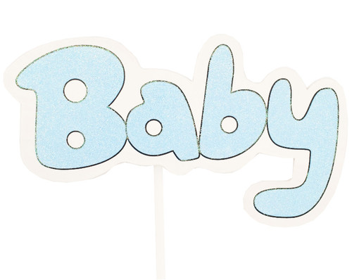 """8.25"""" x 5.5"""" Blue Baby Shower Wooden Decoration Pick - Pack of 6"""