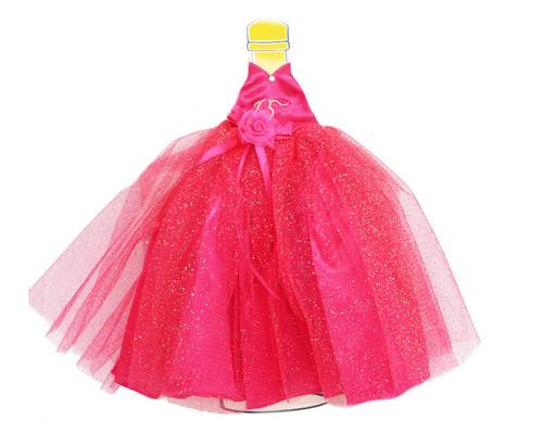 Fuchsia Glitter Quinceanera Champagne Bottle Dress - Pack of 3
