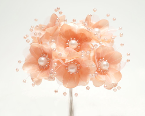 """1.5"""" Blush Silk Flowers with Pearl - Pack of 72"""