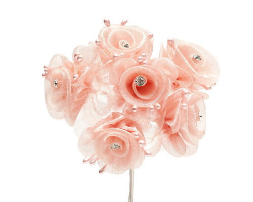 "1.5"" Blush Organza Flowers with Rhinestone - Pack of 72"