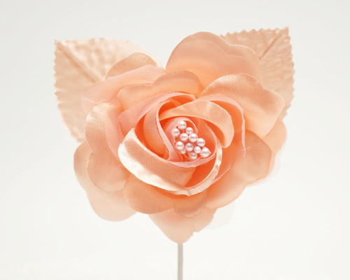 "2.5"" Blush Silk Single Rose Flowers - Pack of 12"