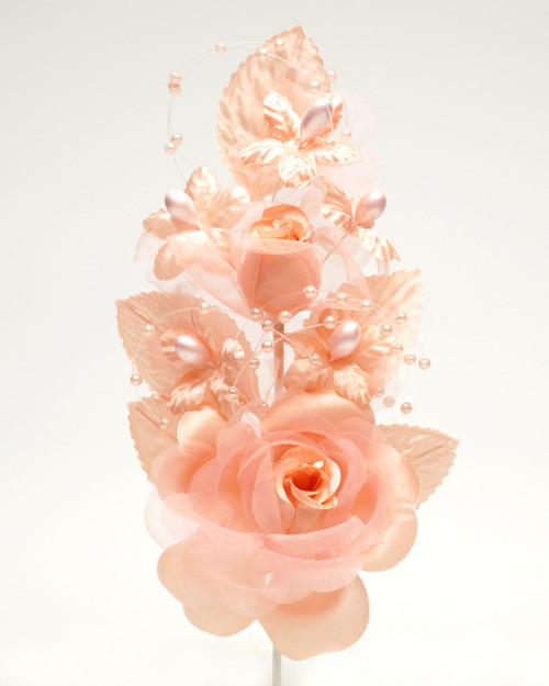 "6"" Blush Silk Corsage Flowers with Pearl Spray - Pack of 12"