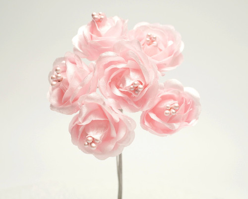 "1"" Pink Starched Rose Silk Flowers - Pack of 72"