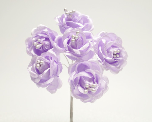 "1"" Lavender Starched Rose Silk Flowers - Pack of 72"