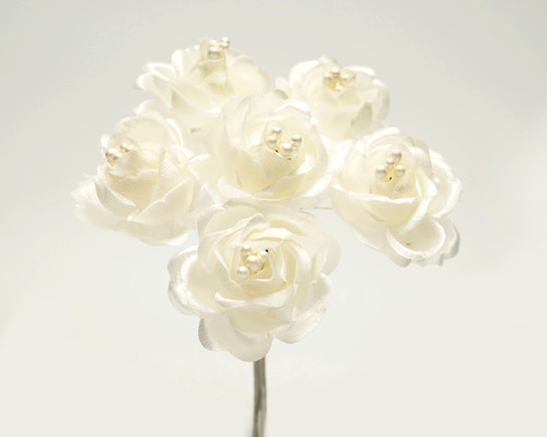 "1"" Ivory Starched Rose Silk Flowers - Pack of 72"