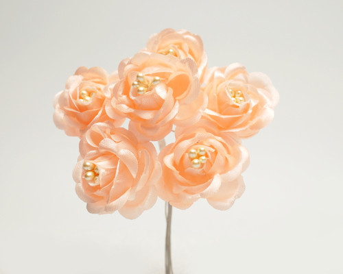 "1"" Peach Starched Rose Silk Flowers - Pack of 72"