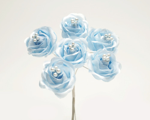 "1"" Light Blue Starched Rose Silk Flowers - Pack of 72"