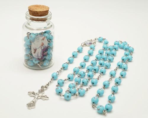 "2.25"" Blue Cork Glass Bottle Rosary Favors - Pack of 12 Baptism Favors"
