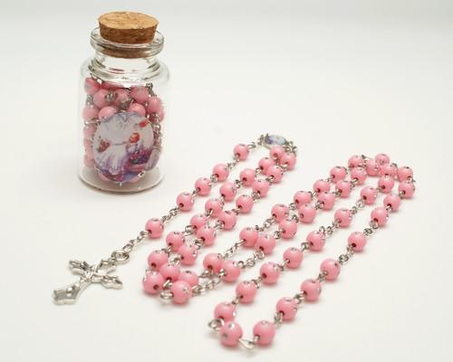 "2.25"" Pink Cork Glass Bottle Rosary Favors - Pack of 12 Baptism Favors"