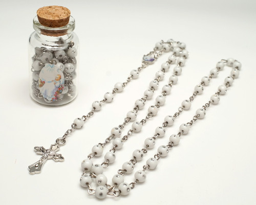 "2.25"" White Cork Glass Bottle Rosary Favors - Pack of 12 Baptism Favors"