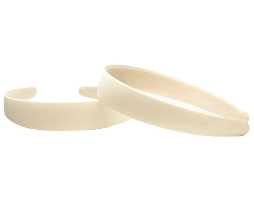 "1"" Ivory Satin Covered Headbands - Pack of 12 Plain Headbands"